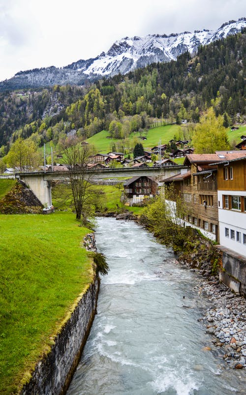 Picturesque scenery of wild river flowing through green mountainous valley with small settlement and lush fir trees