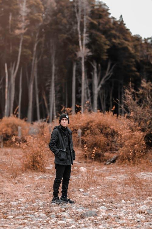 Calm man standing near autumnal forest