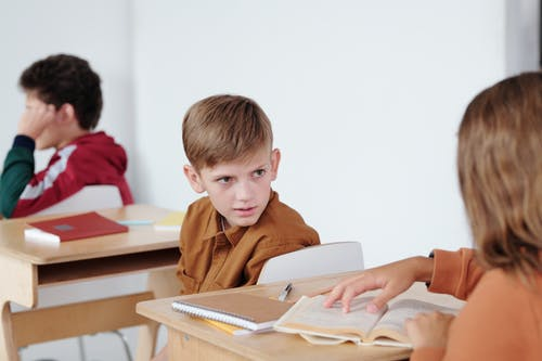 Boy in Brown Polo Shirt Reading Book