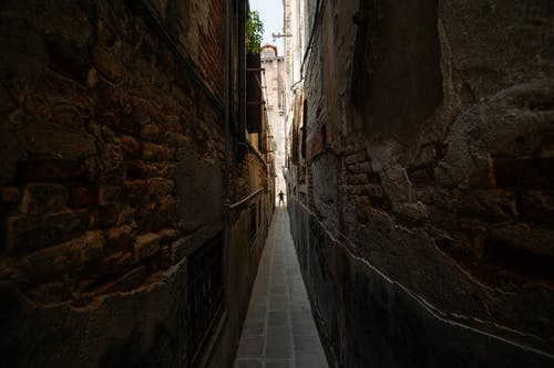 A Very Narrow Alleyway with Walls Made of Bricks