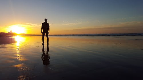 Silhouette of Person Standing on Seaside
