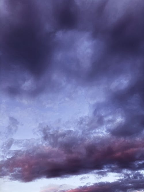 Heavy violet clouds in sky
