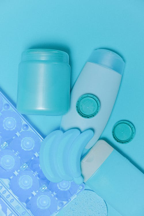 Assorted plastic bottles and containers for reuse