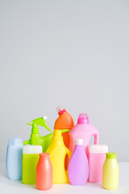 Cleaning supplies placed on table