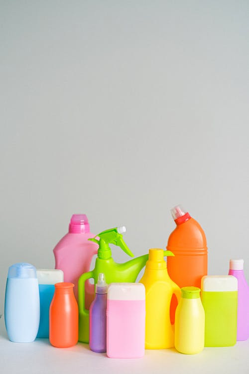Bottles of chemical products for cleaning