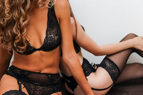 Woman in Black Lace Brassiere and Black Panty