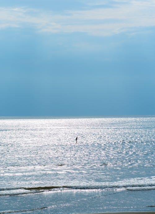 Unrecognizable athlete on shiny wavy ocean under blue sky