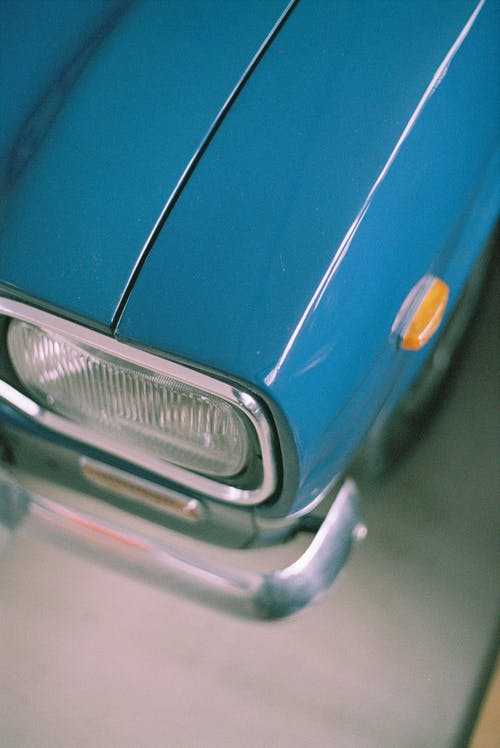 Blue Car With Silver Front Bumper
