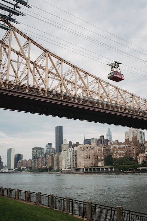 Bridge above river channel in city