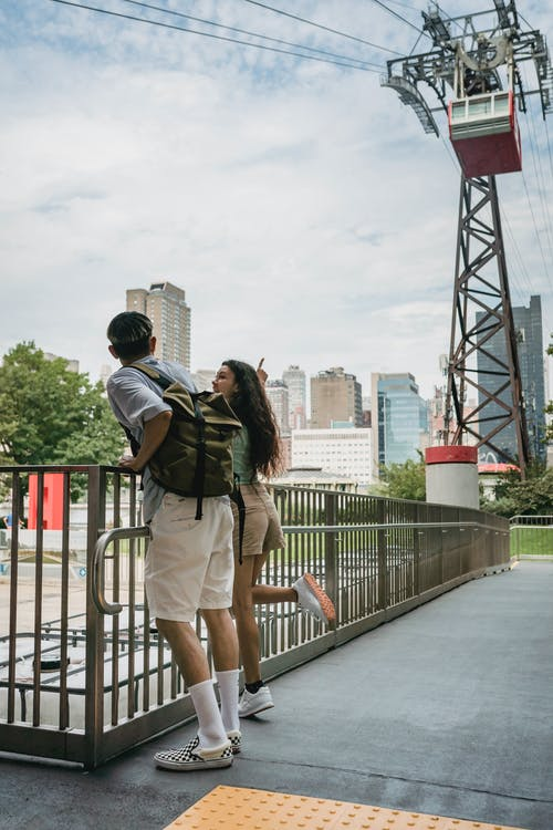 Young couple standing in rope way park