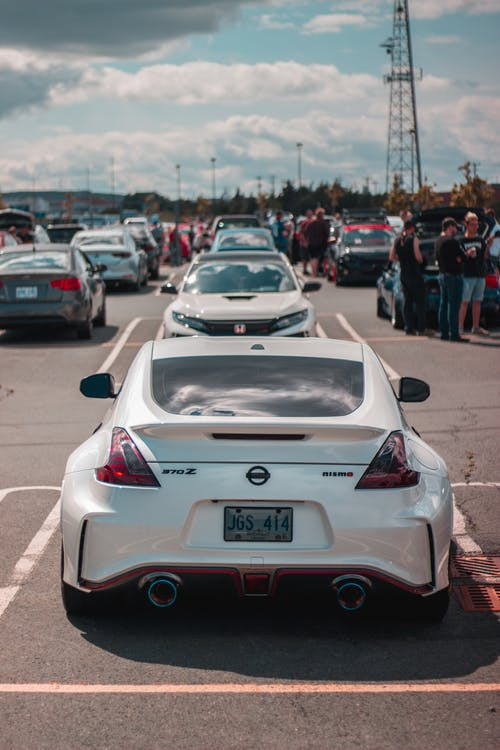 Row of sports cars on parking