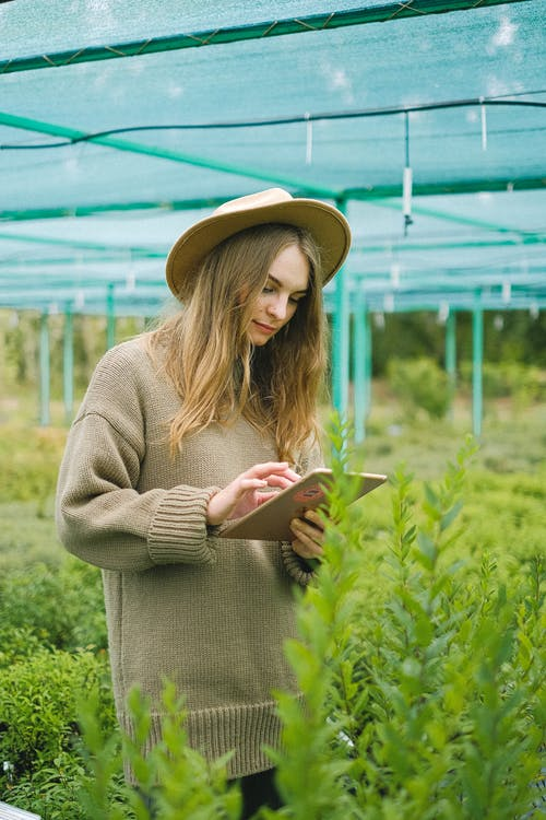 Young female gardener browsing tablet for work in farm