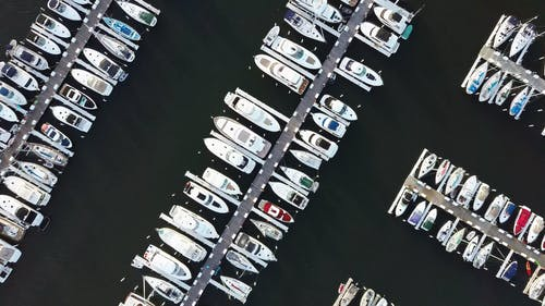 Aerial View of Boats in the Docks