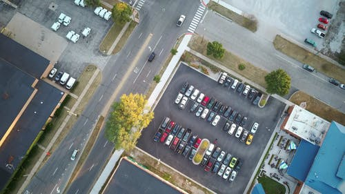 Aerial View of Cars in the Parking Lots