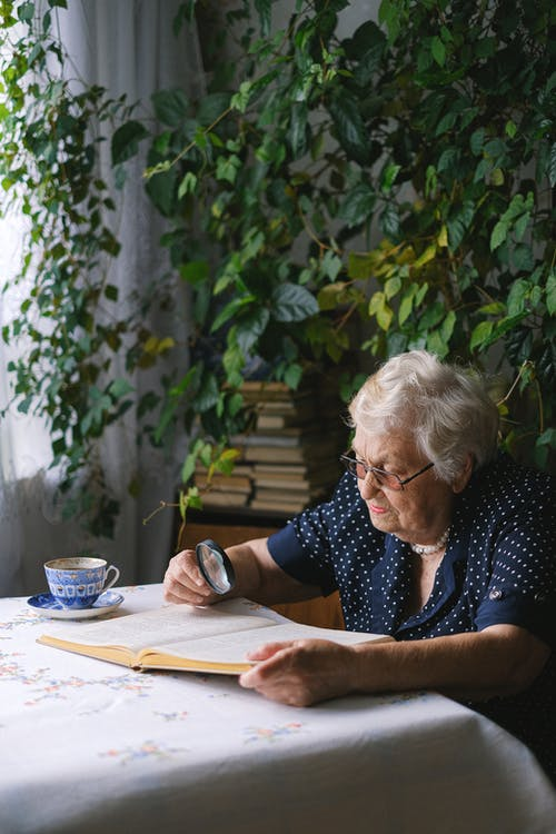 Elderly woman reading book in room