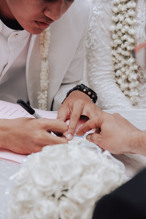 A Groom Signing the Marriage Contract