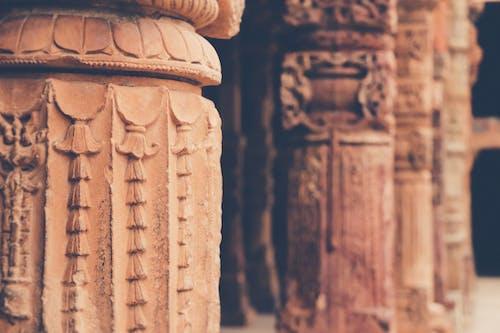Close-Up Shot of Ancient Concrete Pillars
