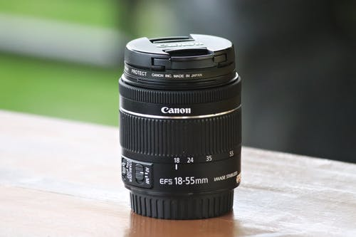 Close-Up Shot of a Canon Camera Lens