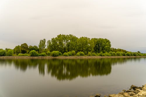 Cloudy Sky Over the Lake Near Green Trees