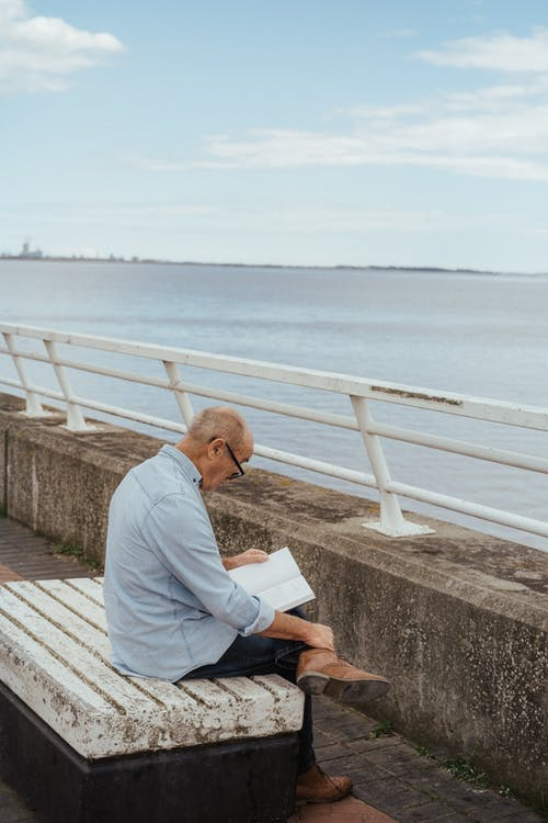 Side view of concentrated senior man in eyeglasses reading book while sitting on bench on waterfront