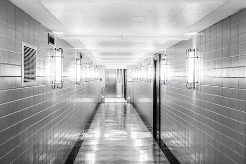 Imagine de stoc gratuită din alb-negru, coridor, curat, gresie