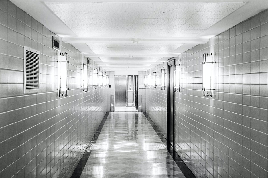 black-and-white, clean, corridor
