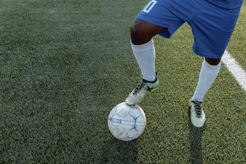 緑の芝生のフィールドに立っている青いショートパンツと白い靴下の人