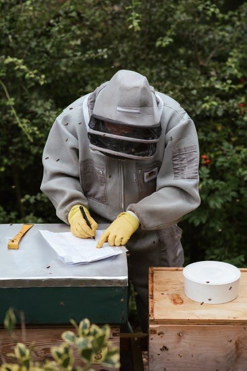 Person in Gray Jacket and Yellow Gloves Holding White and Yellow Box