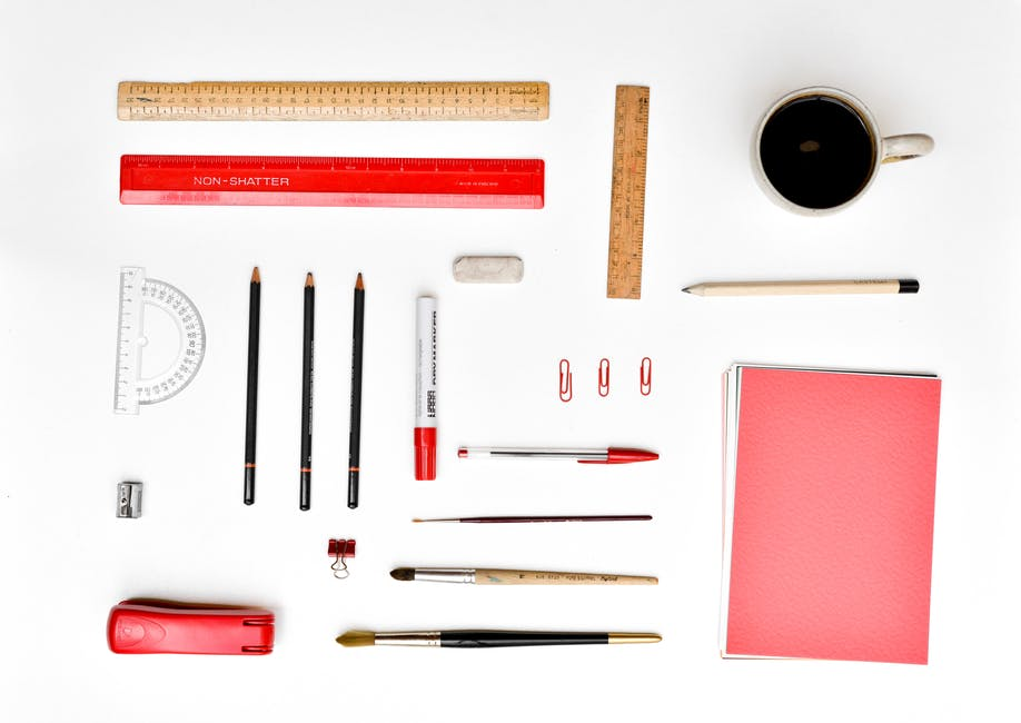 Pencils, Rulers, Stapler, and Papers for pencil sketch artist