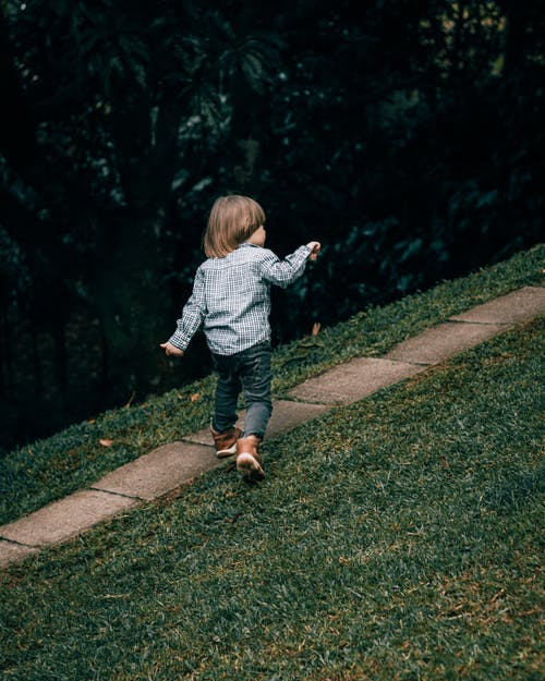 Back view full length cute little boy in stylish outfit strolling energetically on walkway in green summer park