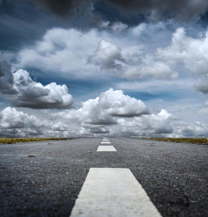 calçamento, estrada, formação de nuvens