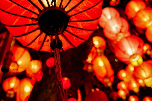 Decorative shiny Chinese lanterns in New Year holiday