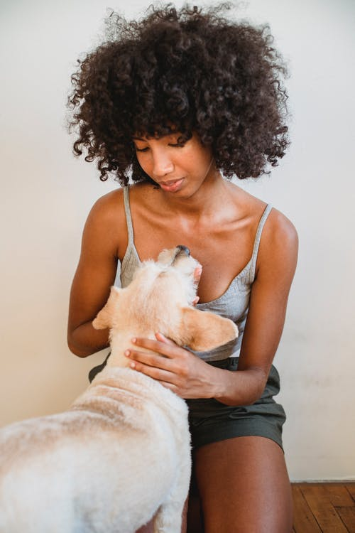 African American woman caressing dog