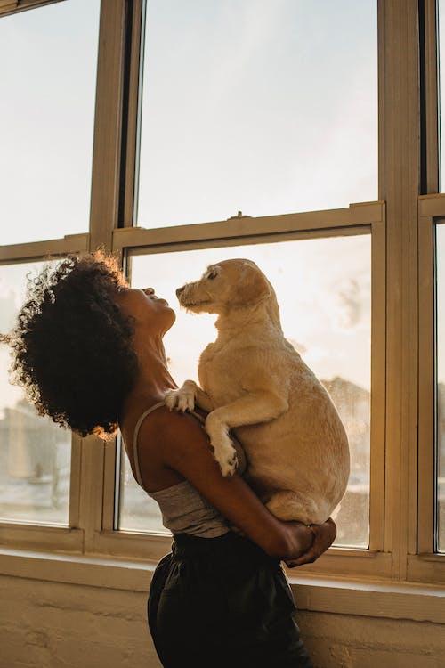 Black woman with dog near window