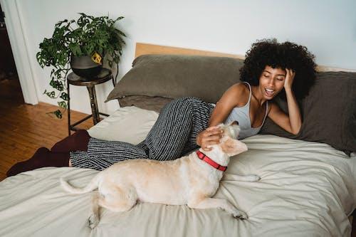 Glückliche Schwarze Frau, Die Auf Bett Mit Hund Liegt