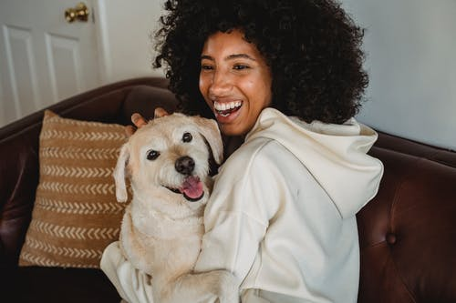Happy young black lady hugging with dog while sitting on sofa in casual outfit in room