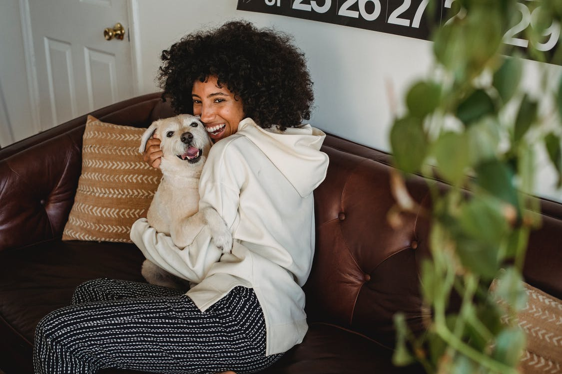 Smiling African American lady cuddling with dog in living room
