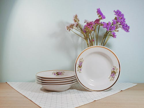 Porcelain Plates with Purple Flowers
