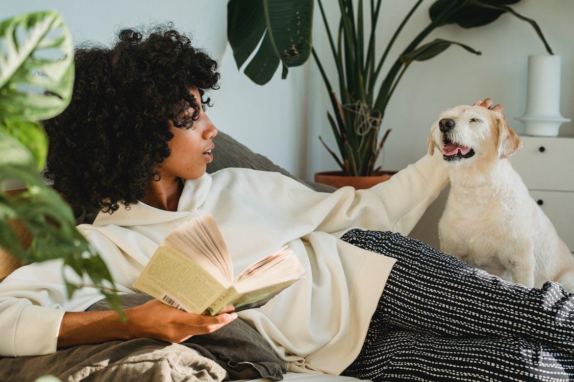 Femme Noire Caressant Le Chien Tout En Vous Relaxant Avec Livre
