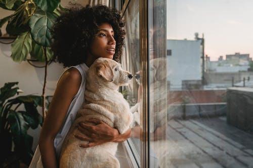Người Phụ Nữ Da đen Biểu Cảm Với Con Chó Gần Cửa Sổ