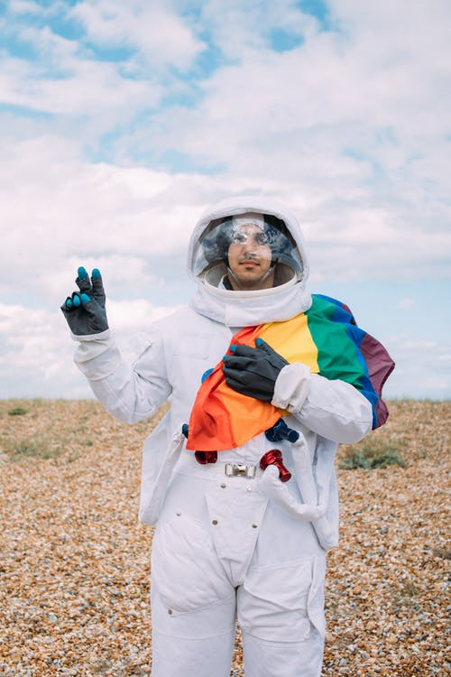 Astronaut With a Gay Pride Flag