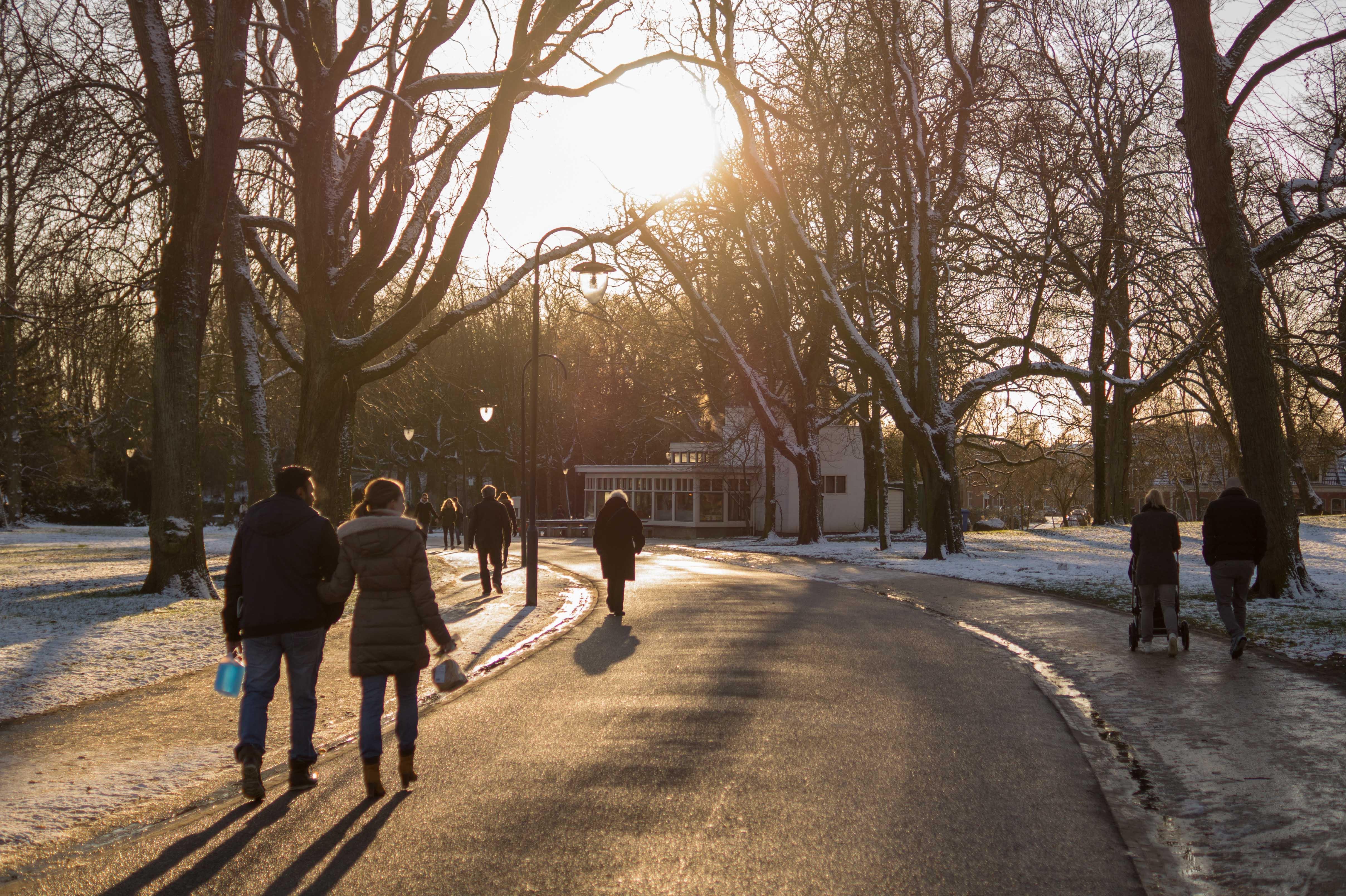 people, road, snow