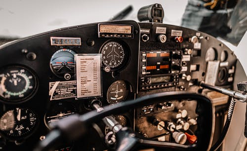 Dashboard of aircraft parked on airfield