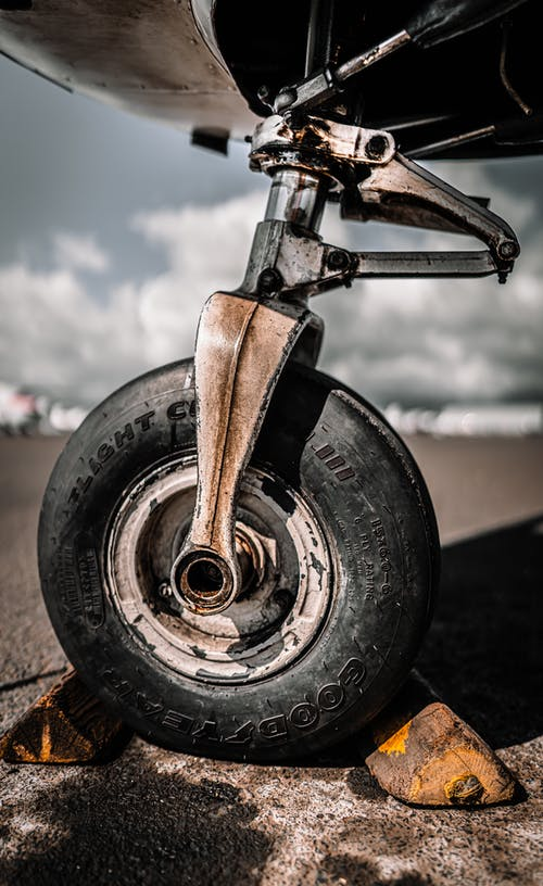 Airplane wheel with chocks on in airport