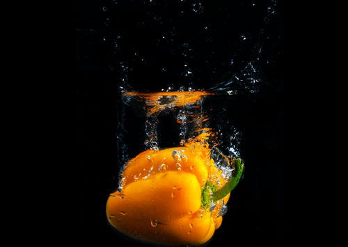 Yellow Bell Pepper With Water