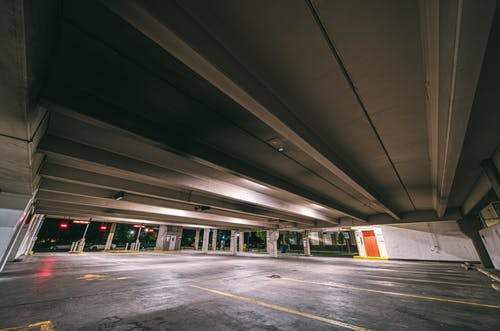 Parking places without cars at night