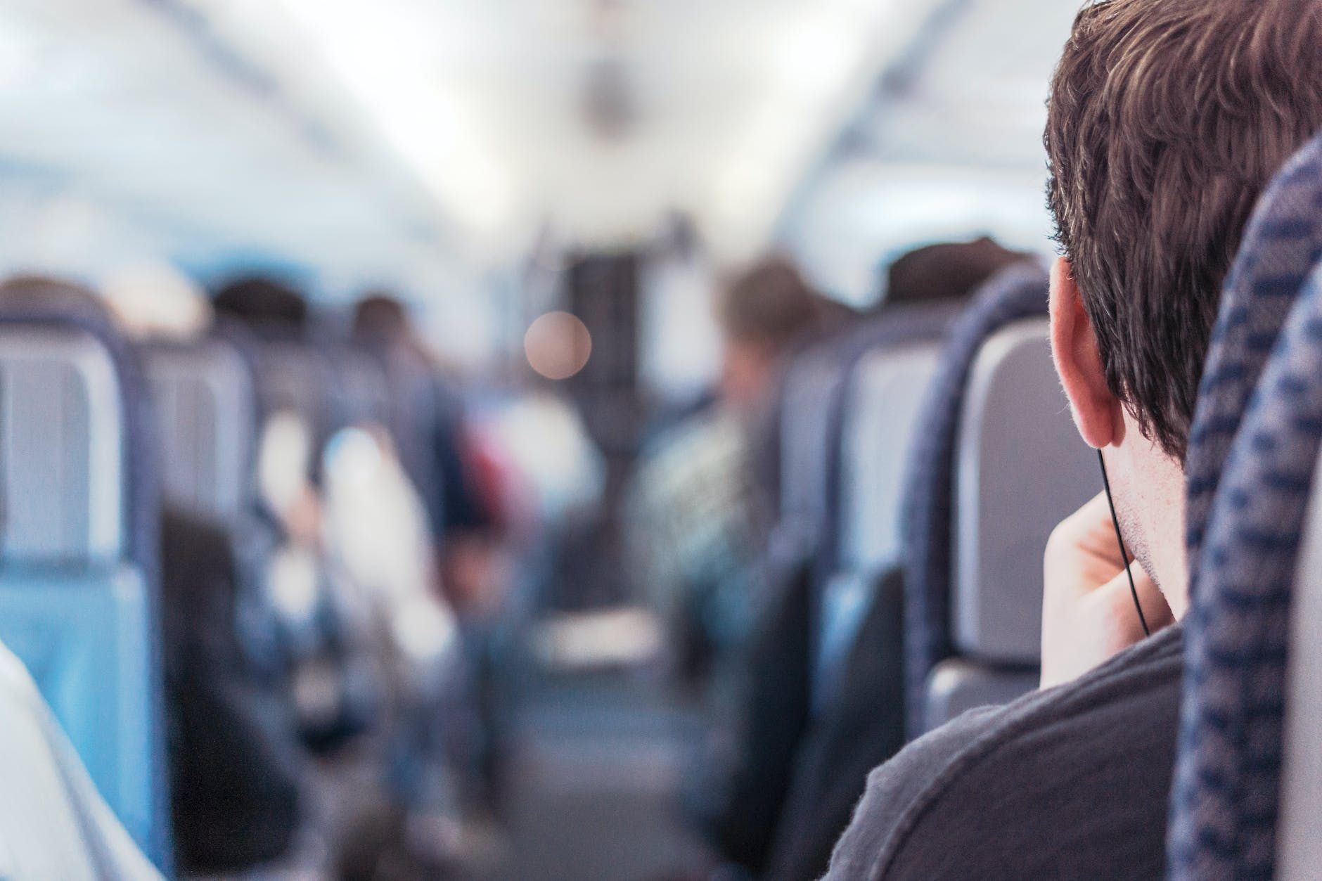 person sitting inside the plane