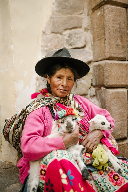 Woman in Pink Long Sleeve Shirt Carrying White Puppy