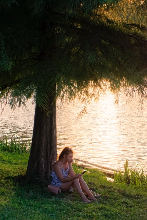 Woman in Blue Tank Top Sitting on Brown Wooden Bench Near Body of Water