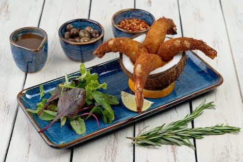 Fried Chicken on Blue Ceramic Plate